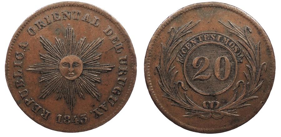 World Coins - URUGUAY 1843/0 20 Centesimos AU