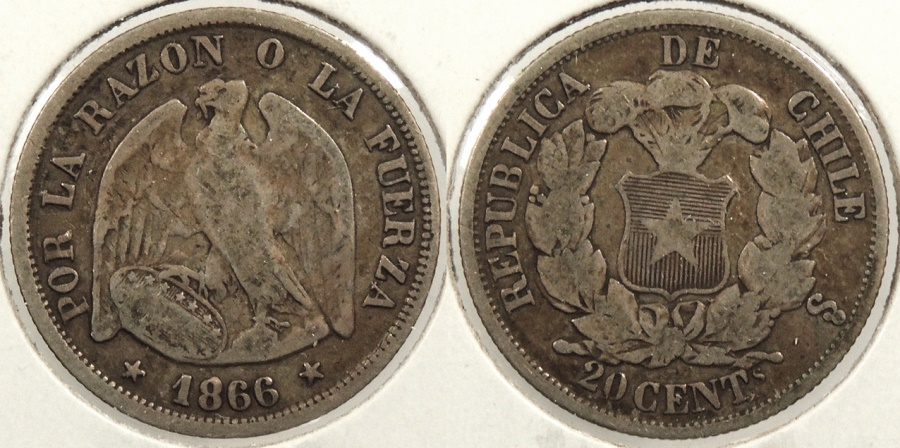 World Coins - CHILE: 1866-So 20 Centavos #WC63437