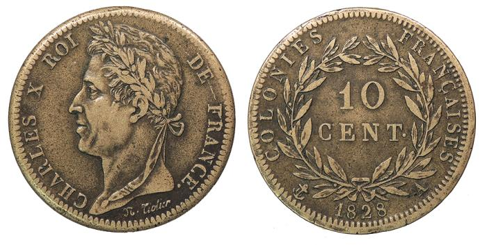 World Coins - FRENCH COLONIES Charles X 1828-A 10 Centimes VF