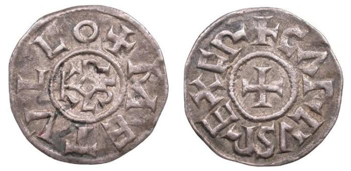 World Coins - CAROLINGIANS France Charlemagne or Charles II (the Bald) 768-814 or 840-877 Denier Good VF