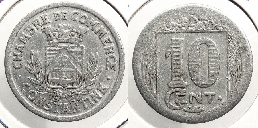 World Coins - ALGERIA: Constantine 1922 Chamber of Commerce token 10 Centimes Token