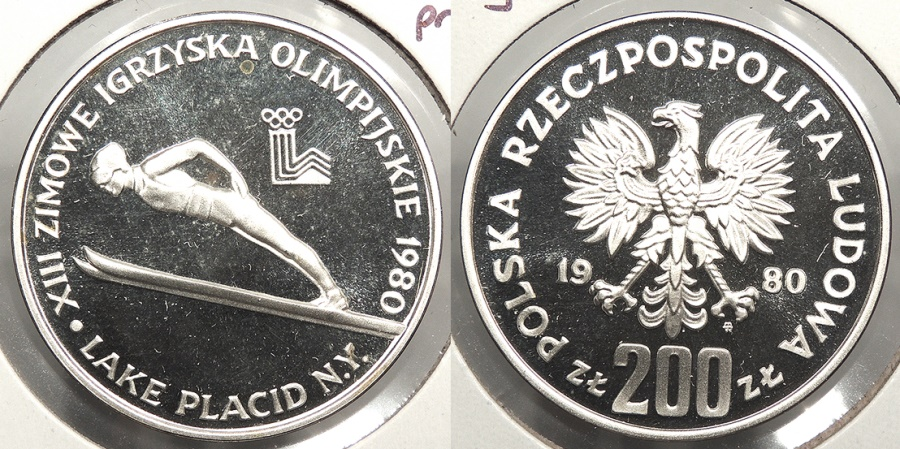 World Coins - POLAND: 1980 Olympics proof, no torch. 200 Zlotych