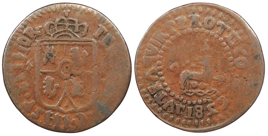 World Coins - PHILIPPINES Ferdinand VII 1829-F Quarto (1/4 Real) VF