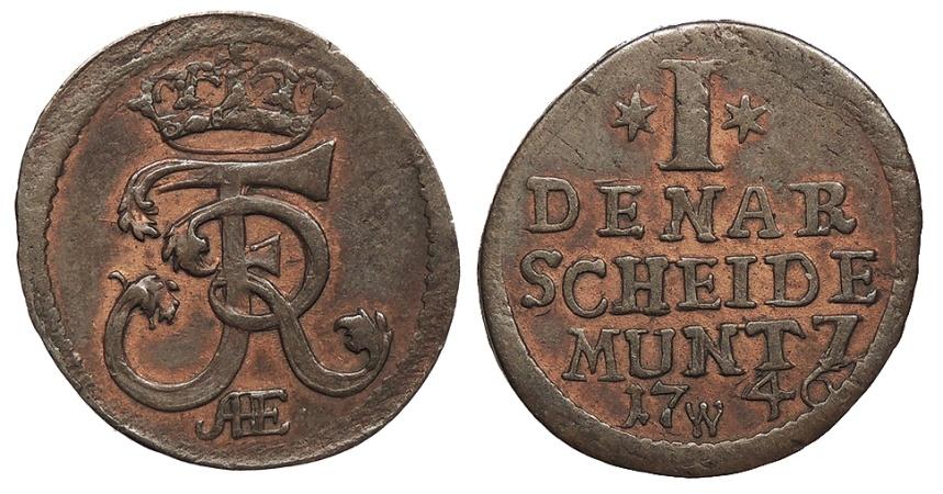 World Coins - GERMAN STATES Prussia, for Silesia Friedrich II, King of Prussia 1746 Denar AU