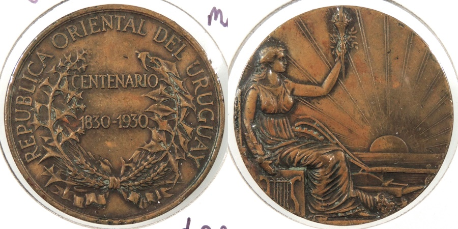 World Coins - URUGUAY: 1930 Republic Centennial 36mm Medal #WC63687