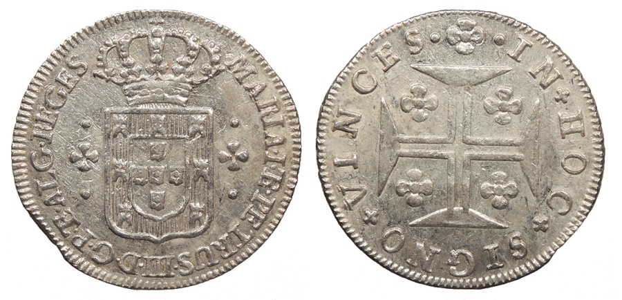 World Coins - PORTUGAL D. Maria I and D. Pedro III ND (1777-1786) 3 Vintens (60 Reis) AU/UNC