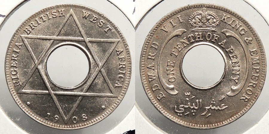World Coins - BRITISH WEST AFRICA: Nigeria 1908 1/10 Penny