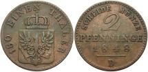 World Coins - GERMAN STATES: Prussia 1848-D 2 Pfennig