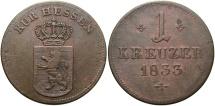 World Coins - GERMAN STATES: Hesse-Cassel Ober-Hesen Wilhem II & Friedrich Wilhelm 1833 1 Kreuzer