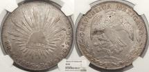 World Coins - MEXICO 1846-Go PM 8 Reales NGC AU-58