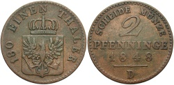 World Coins - GERMAN STATES: Prussia 1848-D 2 Pfennig