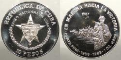 World Coins - CUBA: Republic 1987 1 Ounce - .999 fine. 10 Pesos Proof