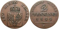 World Coins - GERMAN STATES: Prussia 1844-D 2 Pfennig