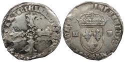 World Coins - FRANCE Henry IV 1589-1610 1/4 Ecu AU