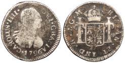 World Coins - GUATEMALA Carlos (Charles) IV 1796-NG M 1/2 Real Fine