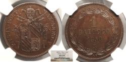 World Coins - ITALIAN STATES Papal States Pius IX 1850-V R Proof 1 Baiocco NGC MS-65 BN