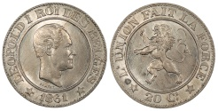 World Coins - BELGIUM Leopold I 1861 20 Centimes UNC