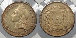 World Coins - DOMINICAN REPUBLIC: 1952 25 Centavos