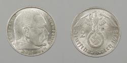 World Coins - GERMANY: 1938-B Hindenburg. 2 Mark