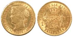 World Coins - PHILIPPINES Isabel II 1868 Peso AU