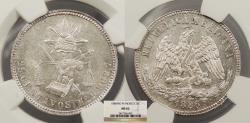 World Coins - MEXICO 1886-Mo M 25 Centavos NGC MS-62