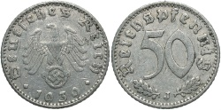 World Coins - GERMANY: 1939-J 50 Reichspfennig