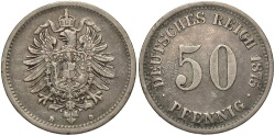 World Coins - GERMANY: 1875-D 50 Pfennig