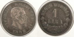 World Coins - ITALY: 1863-MBN Lira
