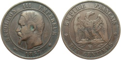 World Coins - FRANCE: Napoleon III 1857 MA 10 Centimes