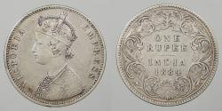 World Coins - INDIA: 1884-B Raised B. Type I reverse. Rupee