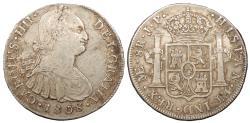 World Coins - PERU Carlos (Charles) IV 1808-LIMAE JP 8 Reales EF