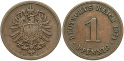 World Coins - GERMANY: 1874-B 1 Pfennig