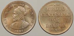 World Coins - PANAMA: 1907 Double-die Reverse. 1/2 Centesimo