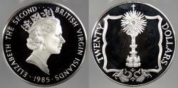 World Coins - BRITISH VIRGIN ISLANDS: 1985 Gold Monstrance. 20 Dollars Proof