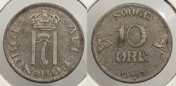 World Coins - NORWAY: 1909 10 Ore