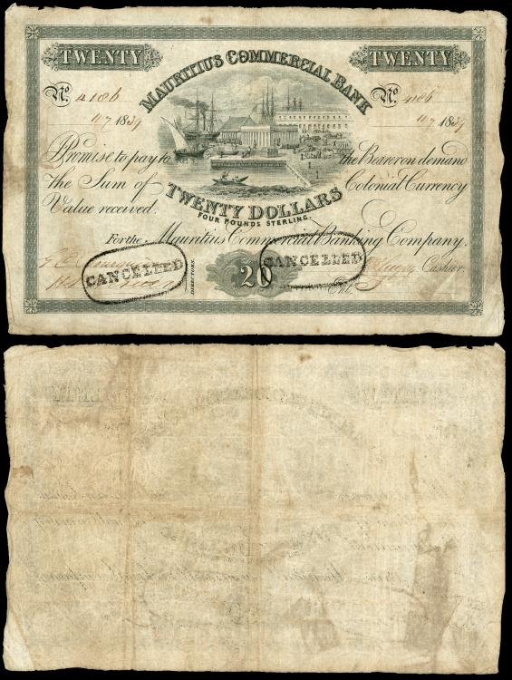World Coins - MAURITIUS Mauritius Commercial Bank 11 July 1839 20 Dollars Fine