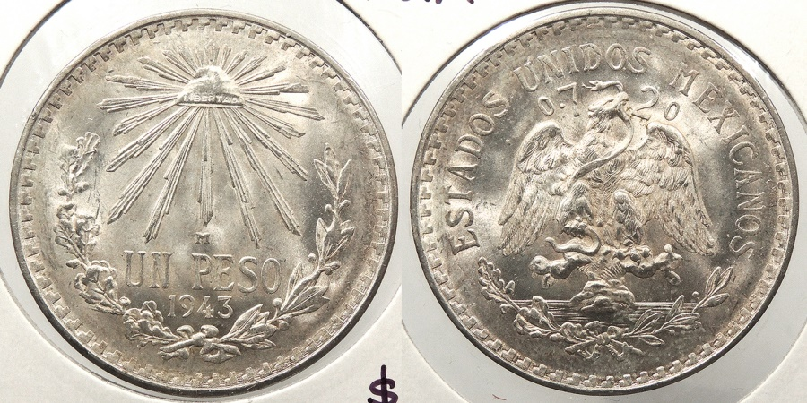 World Coins - MEXICO: 1943-M Peso
