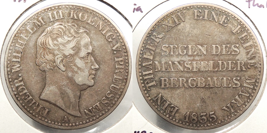 World Coins - GERMAN STATES: Prussia 1835-A Thaler