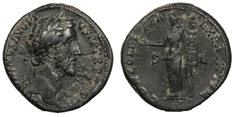 Ancient Coins - Antoninus Pius 138-161 A.D. Sestertius Rome Mint Near EF