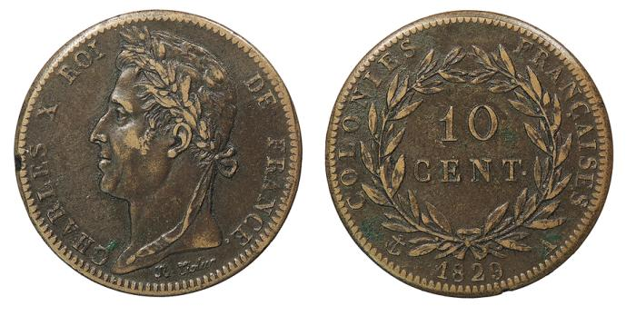 World Coins - FRENCH COLONIES Charles X 1829-A 10 Centimes EF