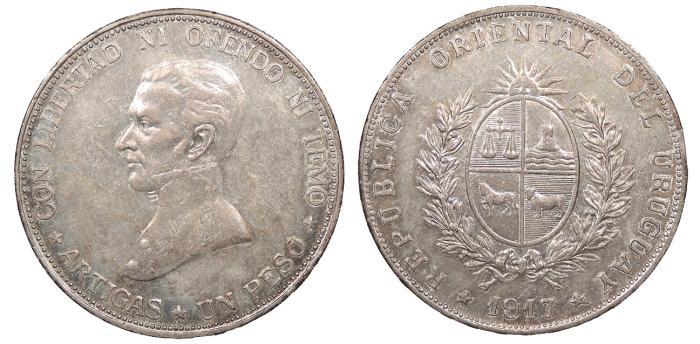World Coins - URUGUAY 1917 Peso Choice AU