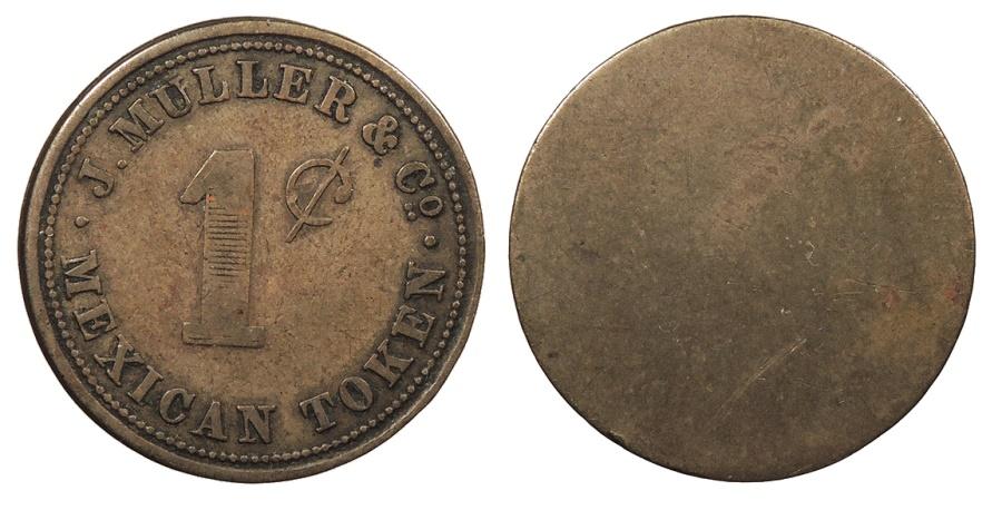 World Coins - DANISH WEST INDIES St. Thomas (San Thomas) Virgin Islands J.Muller & Co. ND (Ca. 1890) Token 1 Cent VF