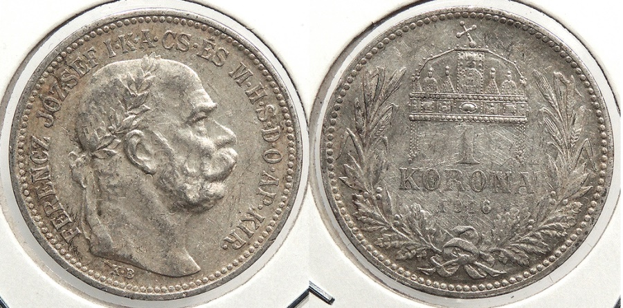 World Coins - HUNGARY: 1916-KB Better date Korona