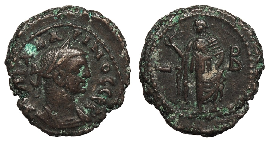 Ancient Coins - Egypt Alexandria Carinus 283-285 A.D. Tetradrachm Alexandria Mint Good VF