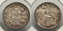 World Coins - PERU: 1904/894 1/2 Dinero