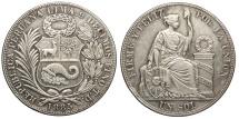 World Coins - PERU South Peru 1885-TD Sol AU
