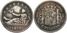 World Coins - SPAIN: 1870 2 Pesetas
