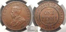 World Coins - AUSTRALIA George V 1924-(m & sy) Penny NGC AU-58 BN