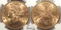Us Coins - 1887 S Coronet 20 Dollars NGC MS-61