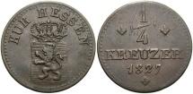 World Coins - GERMAN STATES: Hesse-Cassel Ober-Hessen 1827 1/4 Kreuzer